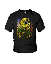 American Flag Star Sunflower Field Youth T-Shirt tile
