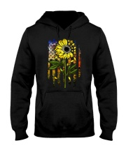 American Flag Star Sunflower Field Hooded Sweatshirt thumbnail