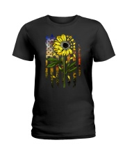 American Flag Star Sunflower Field Ladies T-Shirt thumbnail