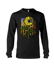 American Flag Star Sunflower Field Long Sleeve Tee tile