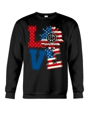 LOVE Sunflower American Flag Crewneck Sweatshirt thumbnail