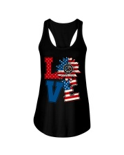 LOVE Sunflower American Flag Ladies Flowy Tank thumbnail