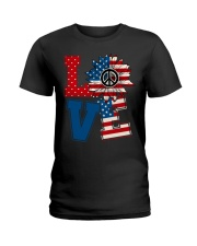 LOVE Sunflower American Flag Ladies T-Shirt thumbnail