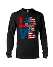 LOVE Sunflower American Flag Long Sleeve Tee thumbnail