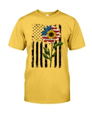 American Flag Sunflower No2 Classic T-Shirt front