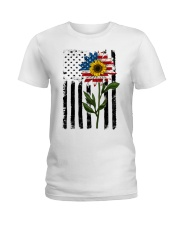 American Flag Sunflower No2 Ladies T-Shirt thumbnail
