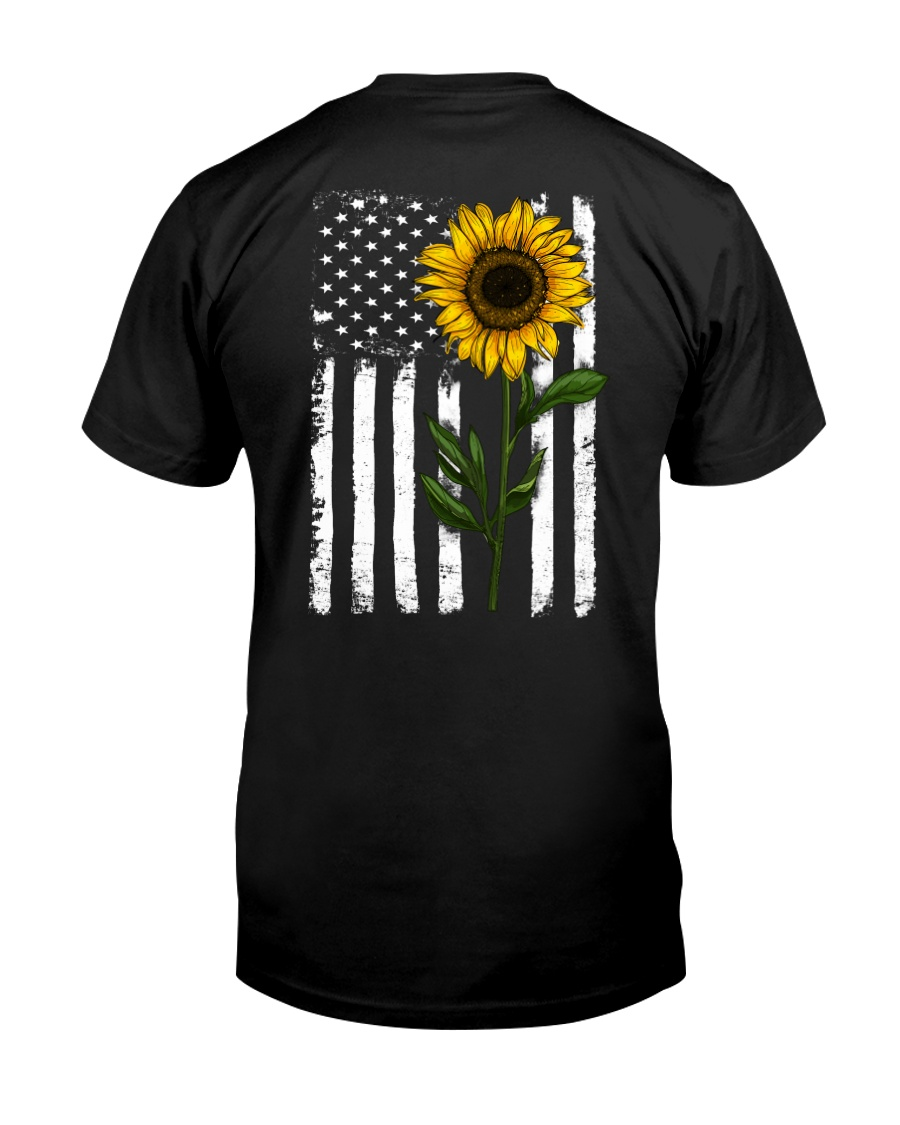 American Flag Sunflower Hippie Distressed Back Classic T-Shirt