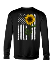 American Flag Sunflower Hippie Distressed Back Crewneck Sweatshirt thumbnail