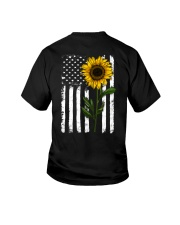 American Flag Sunflower Hippie Distressed Back Youth T-Shirt thumbnail