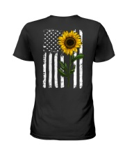 American Flag Sunflower Hippie Distressed Back Ladies T-Shirt thumbnail
