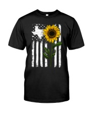 American Flag Texas Sunflower Classic T-Shirt front