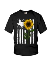 American Flag Texas Sunflower Youth T-Shirt tile