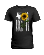 American Flag Texas Sunflower Ladies T-Shirt thumbnail