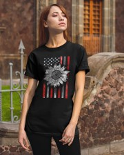 American Flag Sunflower Red Line Classic T-Shirt apparel-classic-tshirt-lifestyle-06