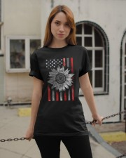 American Flag Sunflower Red Line Classic T-Shirt apparel-classic-tshirt-lifestyle-19