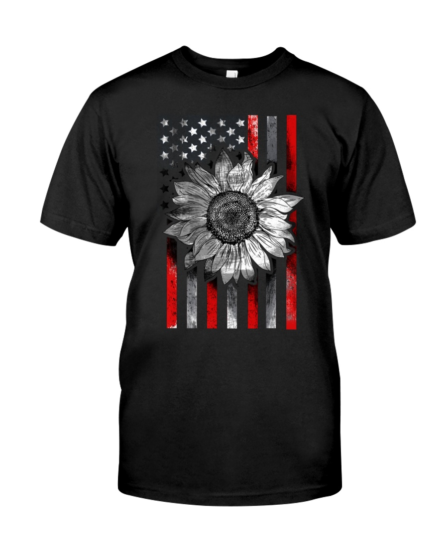 American Flag Sunflower Red Line Classic T-Shirt