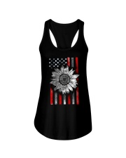 American Flag Sunflower Red Line Ladies Flowy Tank thumbnail