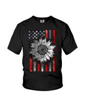 American Flag Sunflower Red Line Youth T-Shirt thumbnail