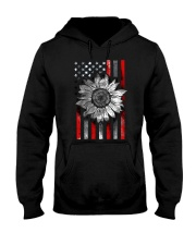 American Flag Sunflower Red Line Hooded Sweatshirt thumbnail