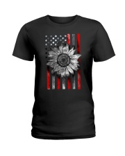 American Flag Sunflower Red Line Ladies T-Shirt thumbnail