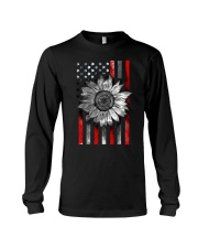 American Flag Sunflower Red Line Long Sleeve Tee thumbnail