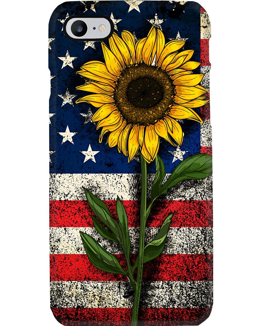American Flag Sunflower Phone Case