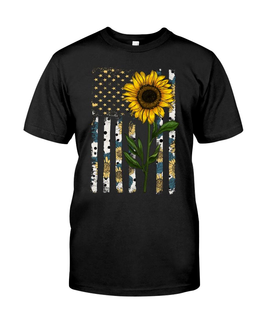 American Flag Sunflower Pattern Classic T-Shirt