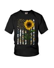 American Flag Sunflower Pattern Youth T-Shirt thumbnail