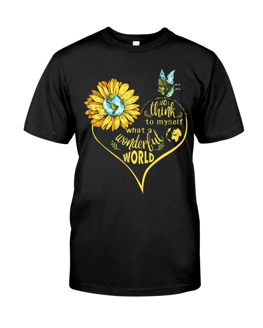 What A Wonderful World Sunflower Earth Classic T-Shirt