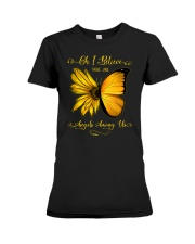 Oh I Believe There Are Angels Among Us Sunflower Premium Fit Ladies Tee tile