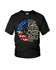 She's A Good Girl American Flag Sunflower Youth T-Shirt thumbnail