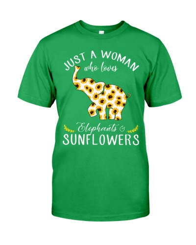 Just A Woman Who Loves Elephants And Sunflowers