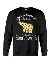 Just A Woman Who Loves Elephants And Sunflowers Crewneck Sweatshirt thumbnail