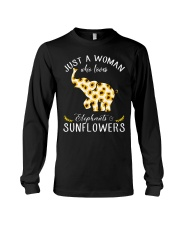 Just A Woman Who Loves Elephants And Sunflowers Long Sleeve Tee thumbnail