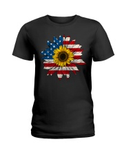 Sunflower American Flag Color Ladies T-Shirt thumbnail