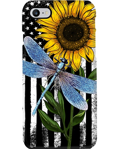 American Flag Sunflower Dragonfly