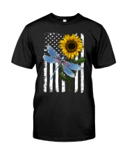 American Flag Sunflower Dragonfly Classic T-Shirt front