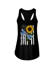 American Flag Sunflower Dragonfly Ladies Flowy Tank thumbnail