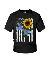 American Flag Sunflower Dragonfly Youth T-Shirt thumbnail