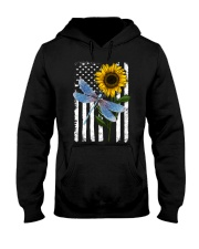American Flag Sunflower Dragonfly Hooded Sweatshirt thumbnail