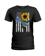 American Flag Sunflower Dragonfly Ladies T-Shirt thumbnail