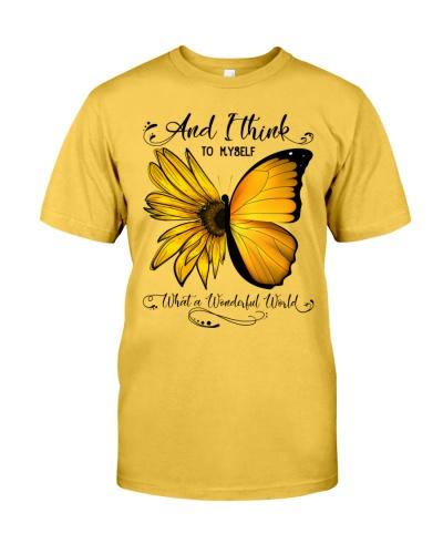 What A Wonderful World Sunflower Butterfly