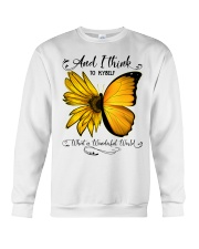 What A Wonderful World Sunflower Butterfly Crewneck Sweatshirt thumbnail