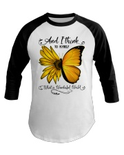 What A Wonderful World Sunflower Butterfly Baseball Tee thumbnail