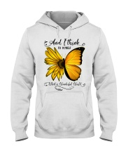 What A Wonderful World Sunflower Butterfly Hooded Sweatshirt thumbnail