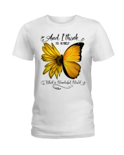 What A Wonderful World Sunflower Butterfly Ladies T-Shirt thumbnail