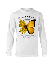 What A Wonderful World Sunflower Butterfly Long Sleeve Tee thumbnail