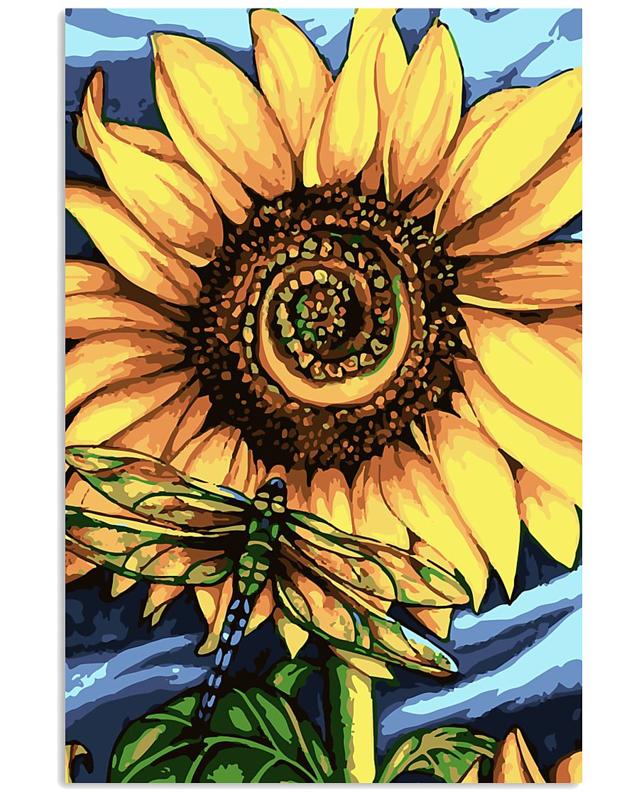 Dragonfly And Sunflower 16x24 Poster