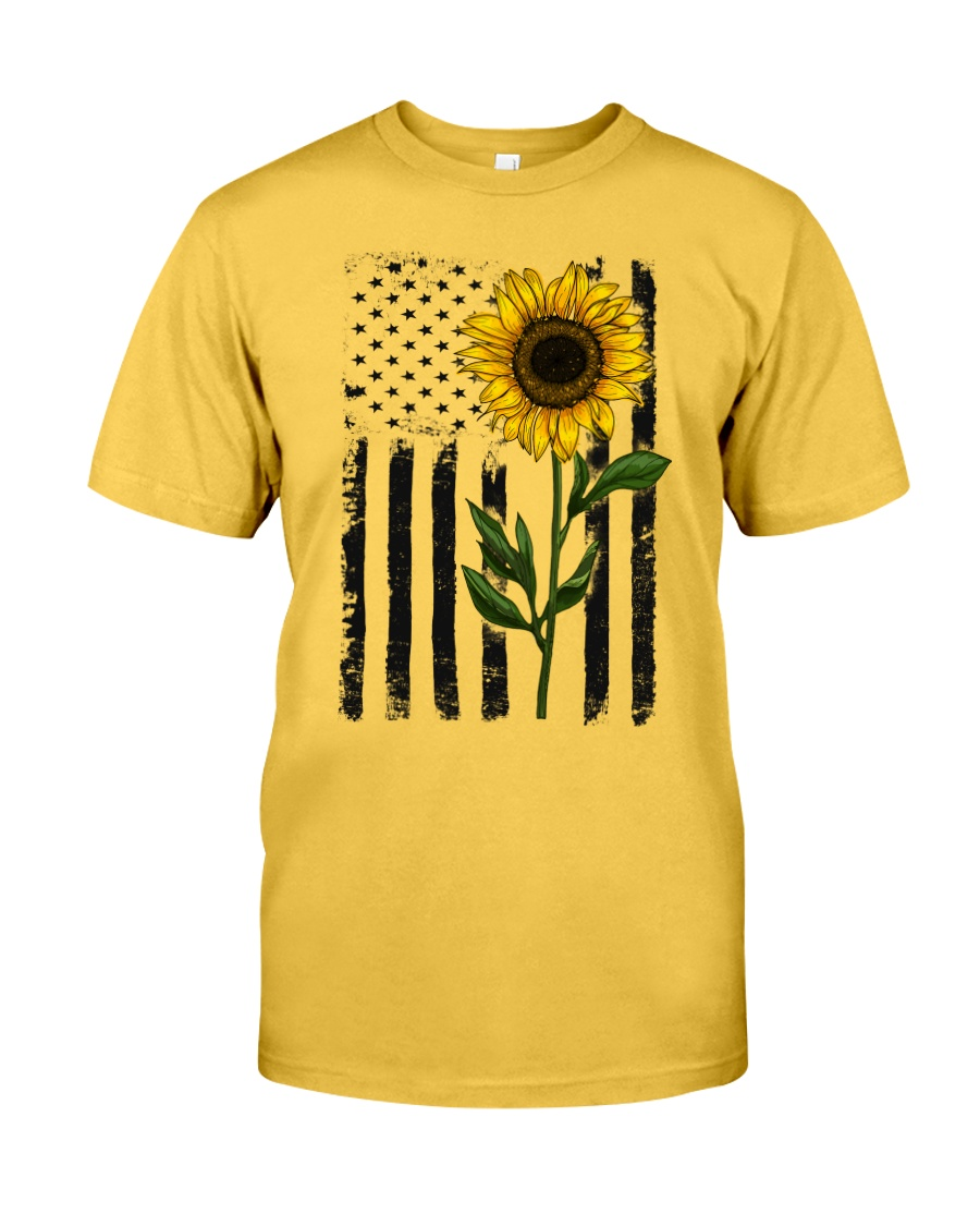 American Flag Sunflower Hippie Vintage Classic T-Shirt