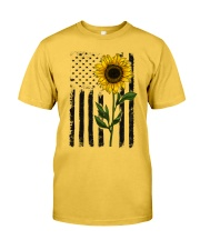 American Flag Sunflower Hippie Vintage Classic T-Shirt front
